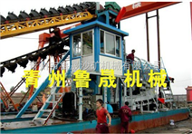 大型链斗式淘金船、产量高的链斗式淘金船、江河大型淘金机械